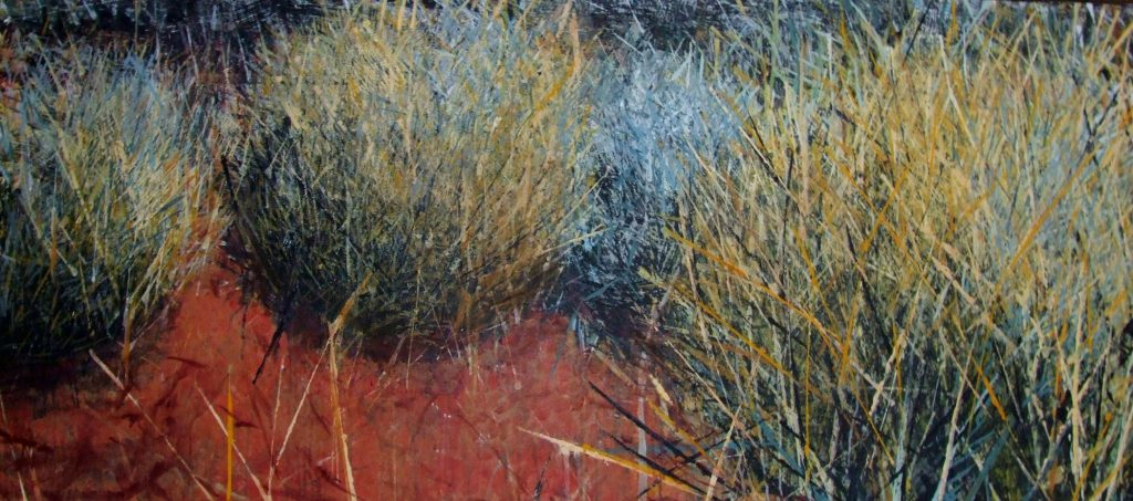 SPINIFEX GLOWING, Acrylic on Linen, 76x183CM.  SOLD